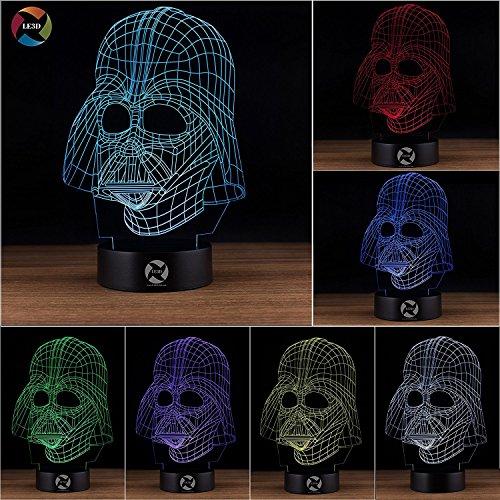 3D Optical Illusion Night Light - 7 LED Color Changing Lamp - Cool Soft Light Safe For Kids - Solution For Nightmares - Star Wars Darth (Darth Vader Lights)