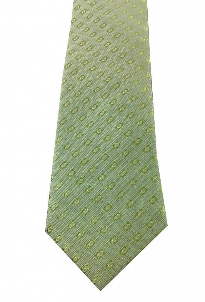Boys Light Green Geometric Design Zipper Tie