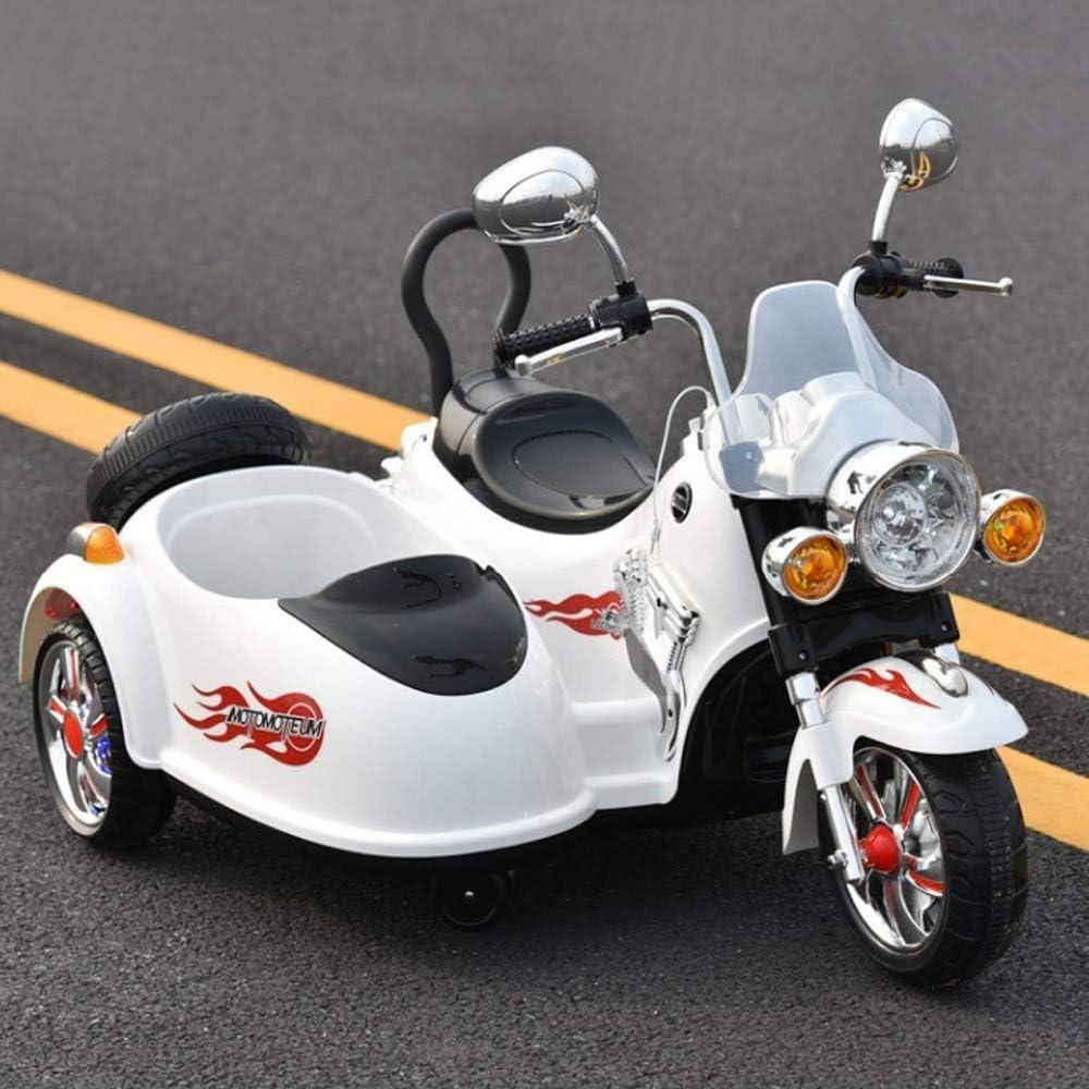 TOYYPAY Motocicleta eléctrica niño en tándem de la Motocicleta 3 Ruedas de la Motocicleta de Juguete Puede Sentarse de Carga de Doble impulsión niños de Coches de Juguete for niños Niños y Niñas