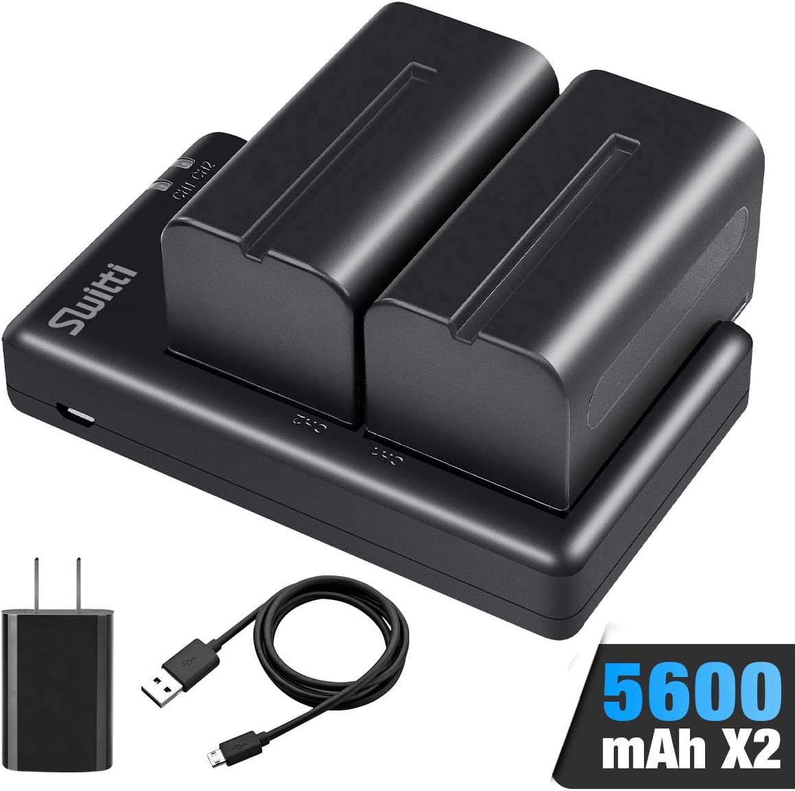 Switti NP-F750 Battery, 2-Packs 5600mAh Li-ion Replacement Batteries with Dual Slot USB Charger for Sony NP-F550, F570, F750, F770, F930, F950, FM55H, FM500H, QM71, QM91, QM71D and Video Light