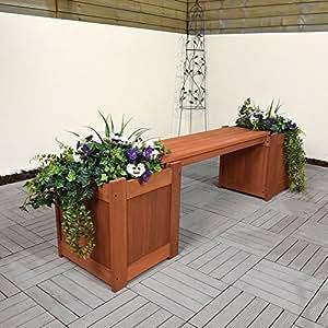 Madera noble Balau maceta caja, ideal para flores y jardín de hierbas maceta banco en acabado en color estar seguro de que es fuerte, resistente y duradero
