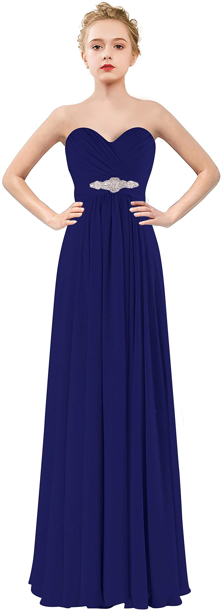 CaliaDress Women Elegant Strapless Bridesmaid Dress Long Prom Formal Gowns C271LF Royal Blue US8