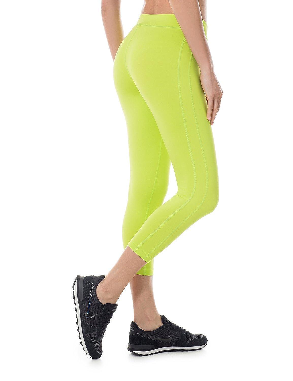 SYROKAN Womens Activewear Running Workout Sports Capri Leggings Pants