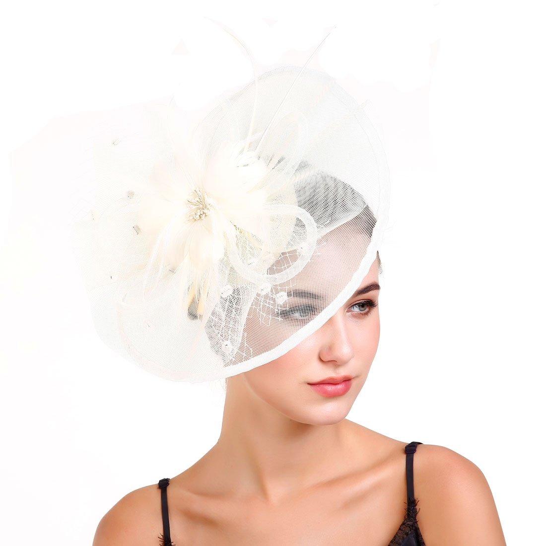 Fascinators Hat for Women,Tea Party Hat Flower Mesh Hair Clip,Kentucky Derby Wedding Feathers Hair Clip by GOONFIT