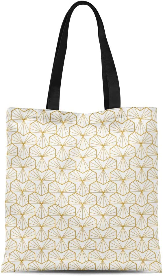 Semtomn Cotton Canvas Tote Bag Colorful Abstract Geometric Pattern Monochrome White Geometry Gold Grid Reusable Shoulder Grocery Shopping Bags Handbag Printed