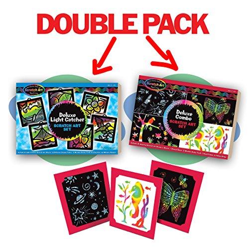 Melissa & Doug Mega Scratch Art Set Bundle Deluxe Combo & Light Catcher Sets Melissa Doug Deluxe Magic Set