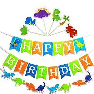 Amazon.com: Pancarta de cumpleaños con diseño de dinosaurio ...