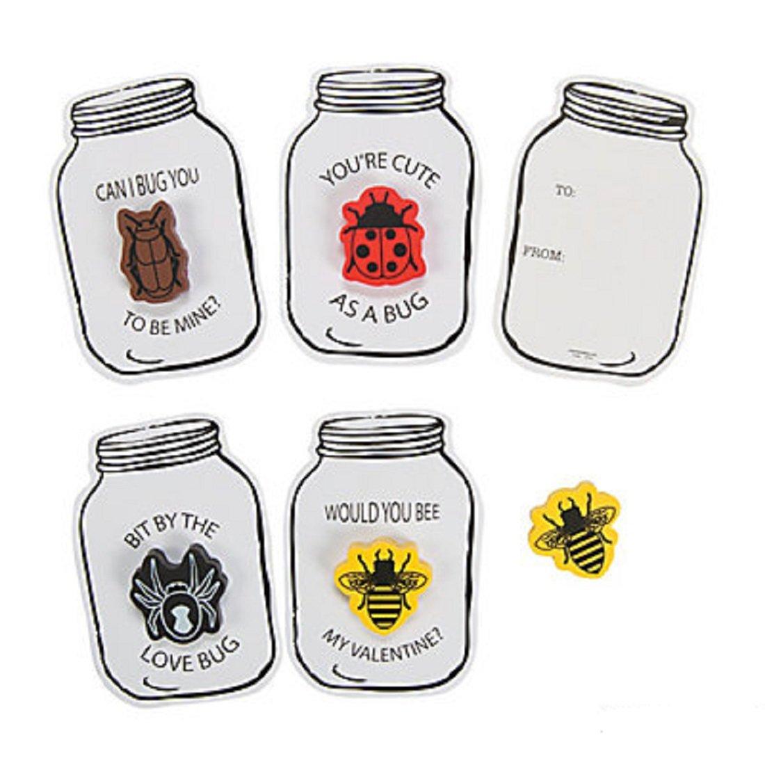 Bug Jar Eraser Valentine Cards with Cute Erasers