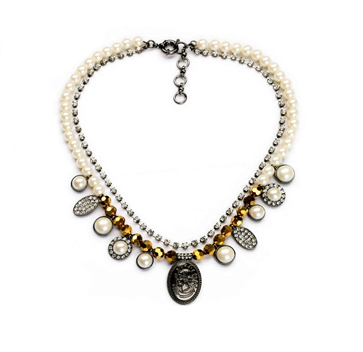 WYWT Vintage Pearl Crystal Rhinestone Multi-Layers Choker with Coin Pendant Retro Statement Chains Necklace