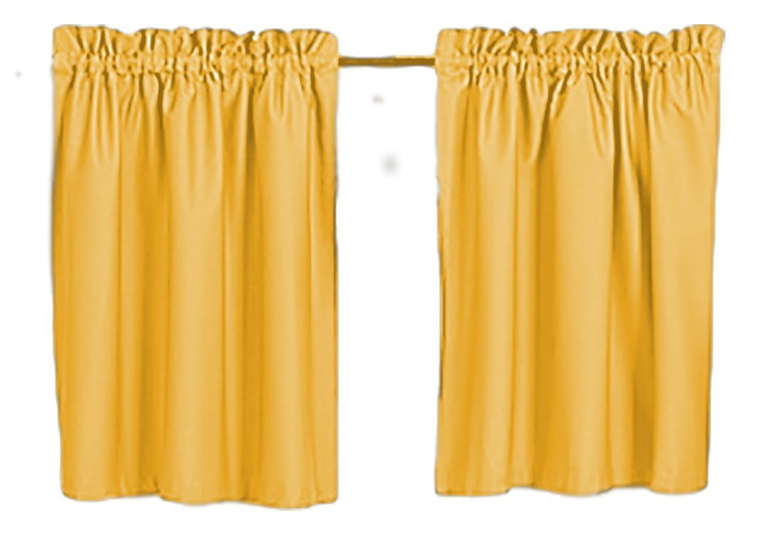 Slate Blue Cafe Mustard yellow Custom Size Avble bathrooms Gold 24 or 30 Long Campers Tiers Solid Color Curtains RV laundry room Tiers Kelly green Royal Blue Orange Pink Rust Burnt