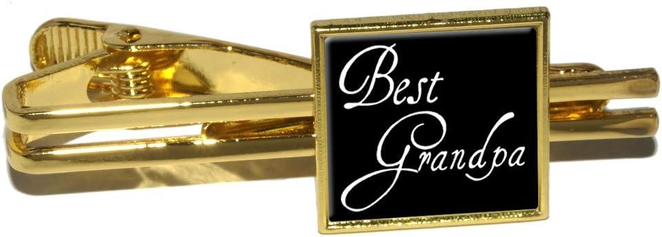 Best Grandpa Square Tie Bar Clip Clasp Tack Gold