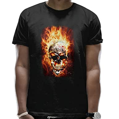 405188366 Yodkherk Cool Skull In The Fire Men's Classic Cotton Short-Sleeve Crew T- Shirt