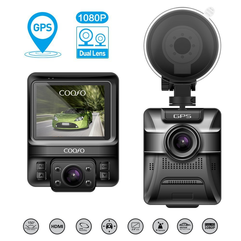 COOFO Dual Lens Car Dash Cam,1080P FHD 150 ° Wide-Angle Lens, Car DVR Dashboard Camera Recorder,Built-In GPS,G-Sensor, 2.5'' LCD, WDR and Parking Monitor Function