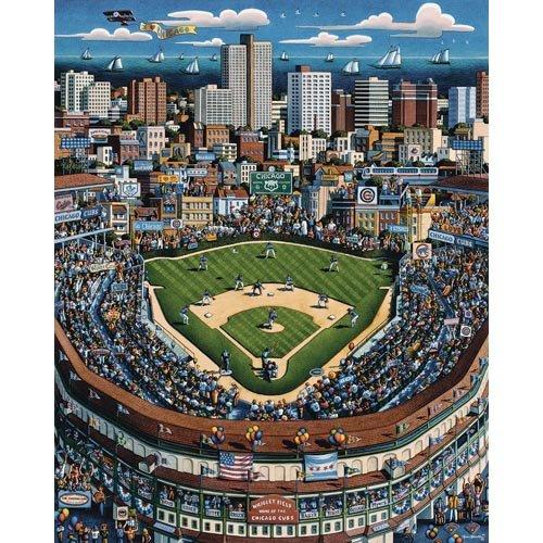 Panoramic 500 Piece Puzzle - Wrigley Field 500 Piece Jigsaw Puzzle By Artist Eric Dowdle