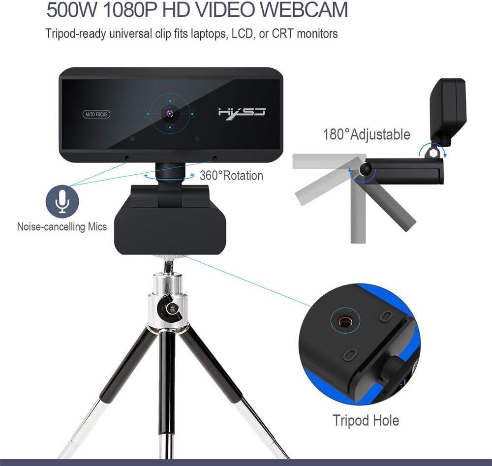 Fesjoy HXSJ S3 5 Millions de Pixels Auto Focus Webcam HD 1080 P Webcam Microphone int/égr/é Haut de Gamme Appel vid/éo Cam/éra Web pour PC Ordinateur Portable