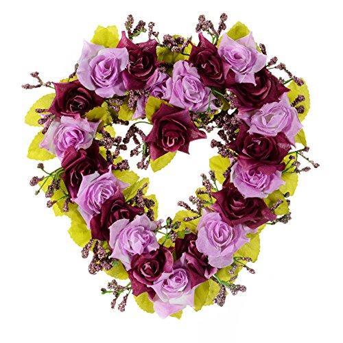 Heart Wreath Craft - Adeeing Vintage Handmade Natural Wall Hanging Wreath Heart-shape Garland for Wedding Home Decor Dark Purple