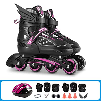 Rebily Beginners Inline Roller Skates Children's Full Set Roller Skate Boys and Girls Adjustable Professional Adult Skates (Color : Pink, Size : L): Home & Kitchen