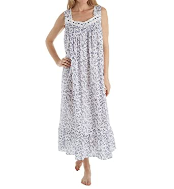 Eileen West Women s Ballet Sleeveless Nightgown White Blue Floral Small 9b3964f69