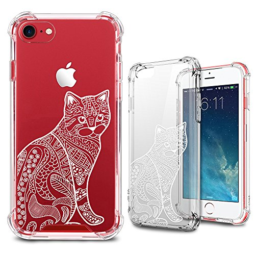 Floral Cat (iPhone 8 Case, iPhone 7 Case, MISS ARTS White Henna Mandala Floral Cat Premium Shock Absorption TPU Bumper Cushion + Scratch Resistant Clear Protective Cases Hard Cover for Apple iPhone 7 / 8 - Cat)