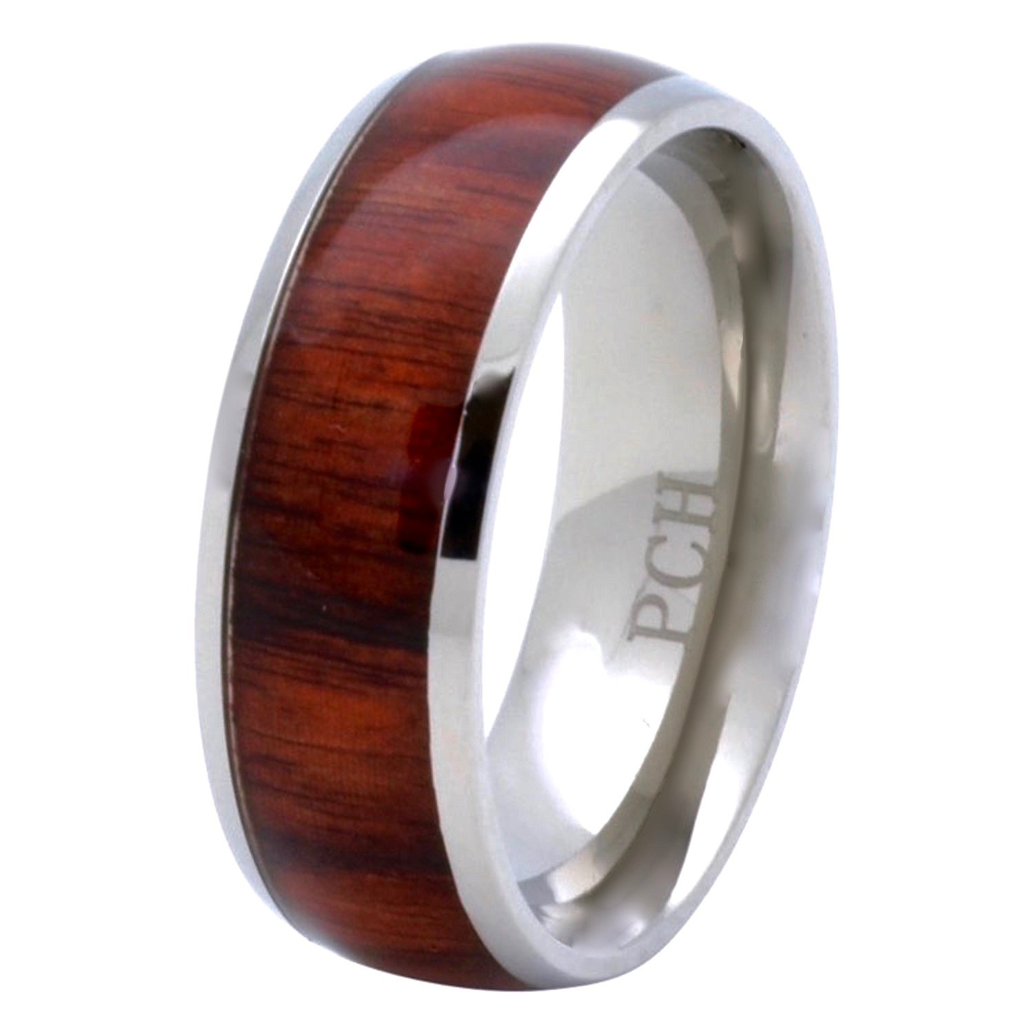 PCH Jewelers Titanium Hawaiian Koa Wood Inlay Men's Wedding Band 8mm (8)