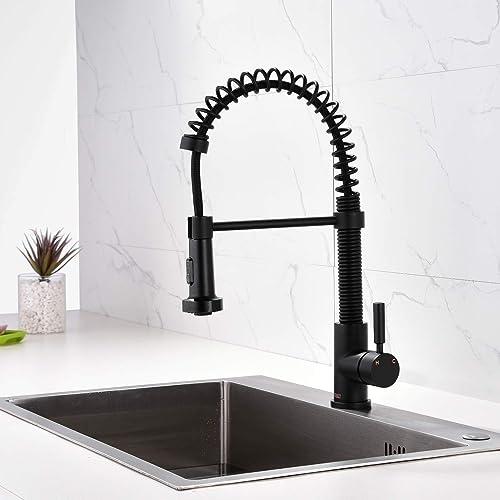 Single Handle Matte Black Pull Down Sprayer Solid Brass Spring Kitchen Faucet, High Arc Centerset Single Hole Kitchen Sink Faucet