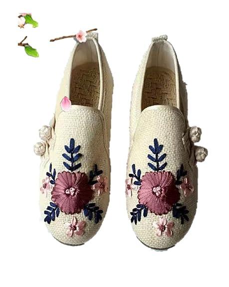 Tianrui Corona Mujeres y señoras Bordado Espadrilles Zapatos Mocasines. Sandalia Plana Zapatos: Amazon.es: Zapatos y complementos