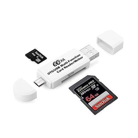 Blanco Micro USB OTG a USB 2.0 Adaptador; SD/lector de ...