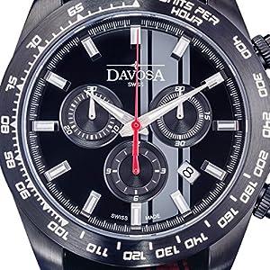 Davosa Swiss Speedline TX 16248855 Analog Men Wrist Watch Red Black Nylon, Black