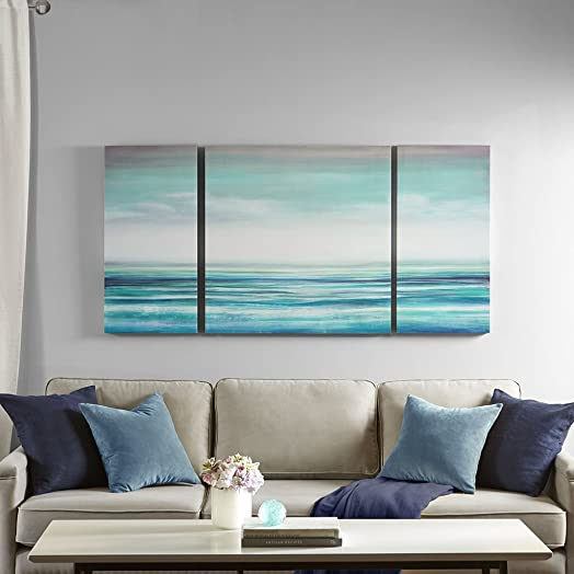 Madison Park Teal Tides Blue Teal Ocean Canvas Wall Art 15″ Wx30 H 2 Piece Multi Panel