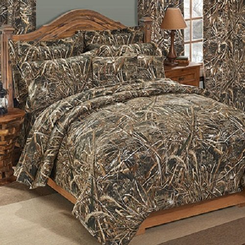 (Realtree Max-5 CAMO 5 Piece TWIN Comforter Set & (1) Matching Reversible Throw Blanket - Includes: (1 Twin Comforter, 1 Pillow Sham, 1 Fitted Sheet, 1 Flat Sheet, 1 Pillowcase, 1 Throw Blanket))