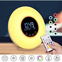 Wake Up Light-Sunrise/Sunset Alarm Clock 9 Colors Bedside Lamp 10 Brightness Night Mood Light with FM Radio, 51 Nature Sounds and Touch Control Function USB Powered