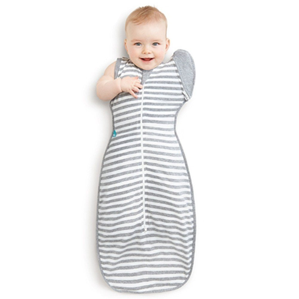 Love To Dream Swaddle UP 50/50 Transition Bag, Gray, Large, 18.5-24 lbs, Patented Zip-Off Wings, Gently Help Baby Safely Transition from Being swaddled to arms Free Before Rolling Over by Love to Dream