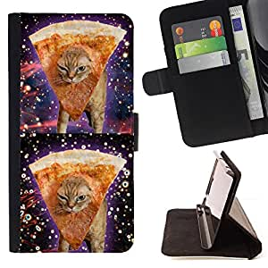 KingStore / Leather Etui en cuir / Samsung Galaxy S3 MINI 8190 / Espacio Weed pizza Cat 420 Divertido Stoned