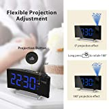 TOPELEK Projection Alarm Clock, 15 FM Radio Digital Clock, Dual Alarms with 4 Sounds, 6 Dimmer, 7'' Large Curved Screen, USB Phone Charging Port, 120° Adjustable Ceiling Projection Clock, Sleep Timer