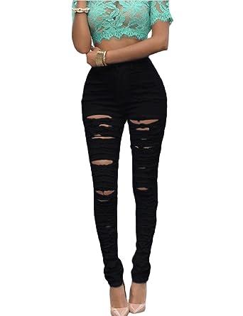 Cindeyar Damen Hose Stretch Jeans Risse am Knie High Waist Zerrissen  Jeanshose Skinny Slim Hochbund Röhrenjeans Leggings Hose  Amazon.de   Bekleidung fe13b29fc6