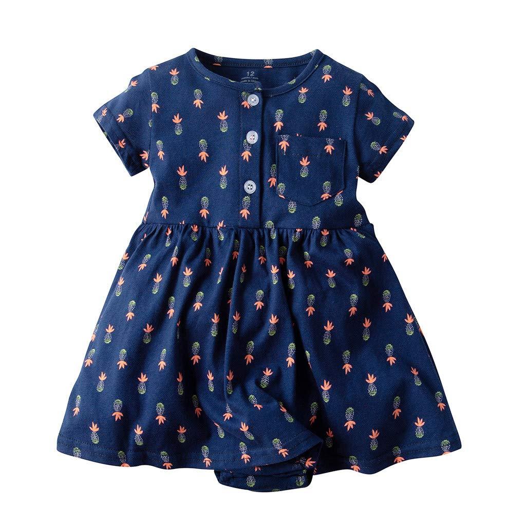 Toddler Dress,Toddler Kid Baby Girl Short Sleeve Plaid Printed Party Princess Dress Clothing,Baby Boys' Tops,Navy,18-24M
