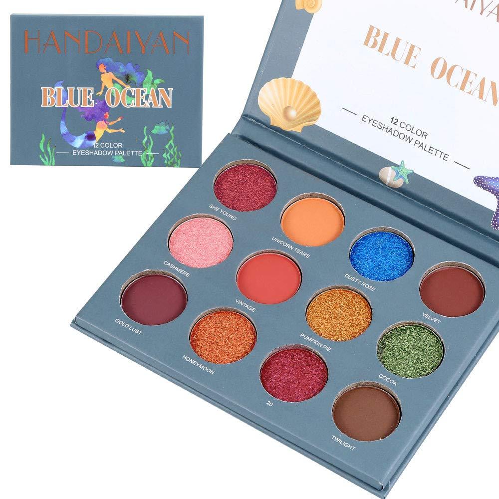 Palette fard à paupières, fard à paupière palette 12 couleurs ombre à paupières maquillage perle métallique fard à paupières Maquillage ensemble de Palette by LHWY (Multicolor B) LHWY026