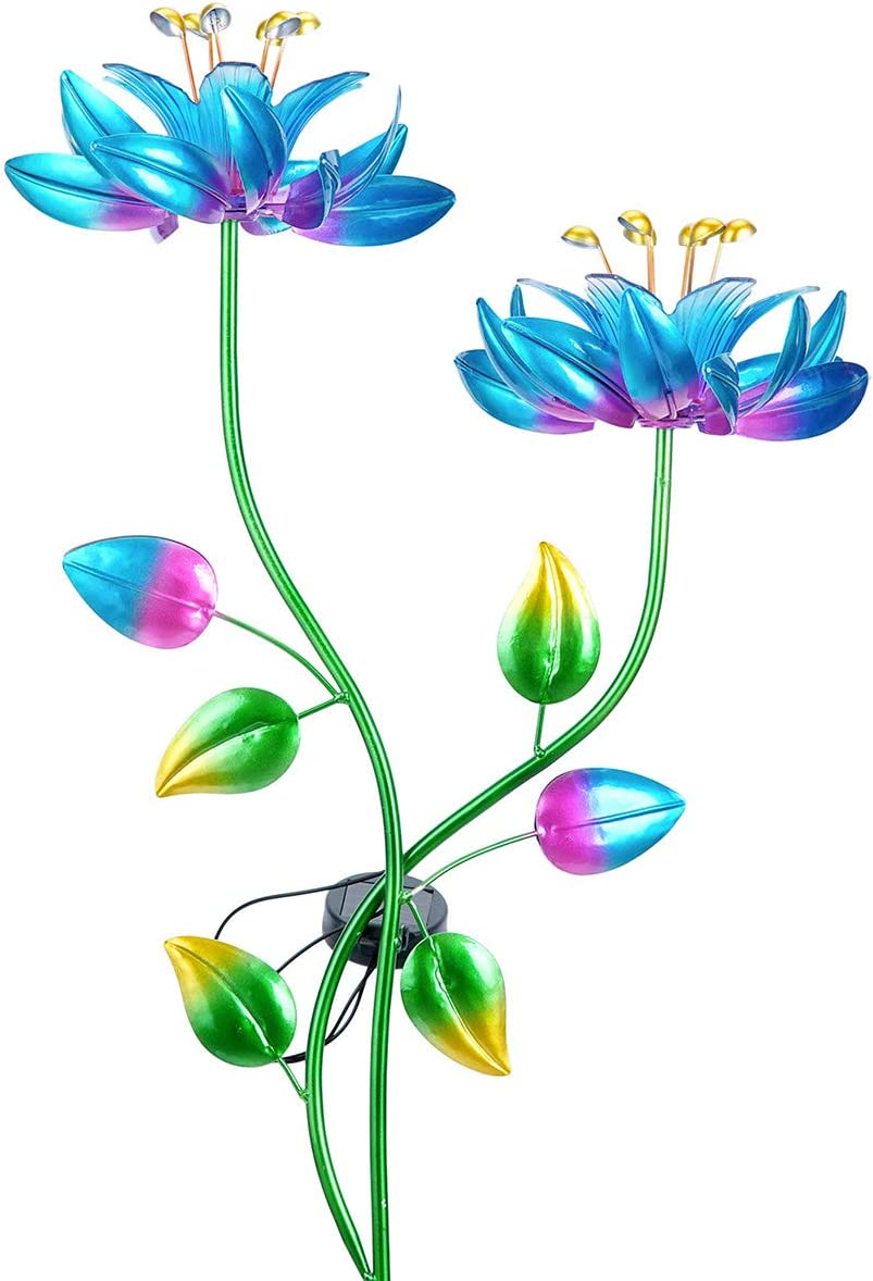hourflik Double Lotus Flower Wind Spinners Garden Stake with Solar Powered LED Lighting 2 Metallic Flower Spinners in Colorful for Patio Lawn and Garden Yard Art Décor