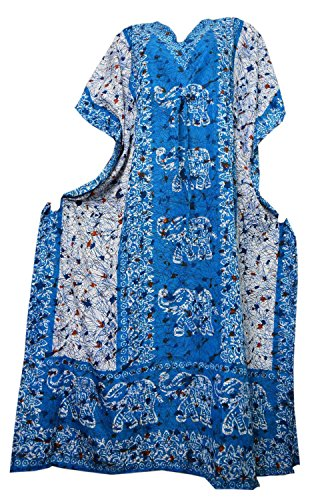 Odishabazaar Womens Plus Size Boho Hippie Elephant Print Kaftan Dress Dori On Waist (multi-2) (Kaftan Elephant)