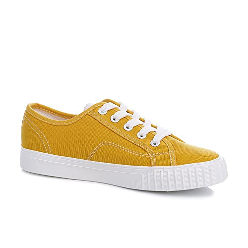 e3b0e2b7bb2 Renben Womens Canvas Shoes Flat Low Top Lace up Casual Slip On Sneakers  Yellow