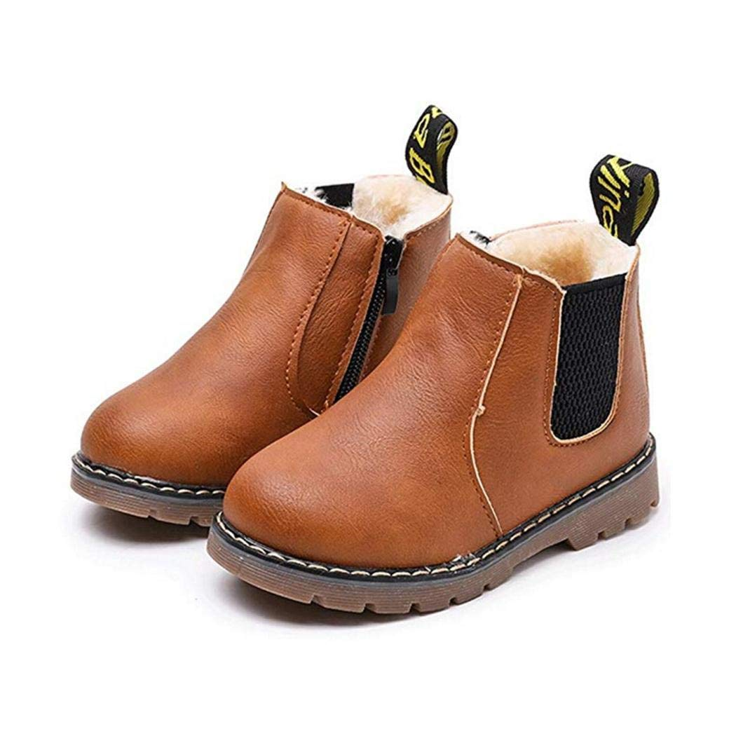 Pinsparkle Boys Fashion Casual Non-Slip Thicken Martin Boots Waterproof Toddler Shoes Boots