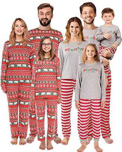 QUNISY Family Matching Christmas Pajamas Set Pyjamas Xmas Sleepwear Holiday Pjs Polar Bear Kids-Youth 8 (Wife Christmas Jammies)