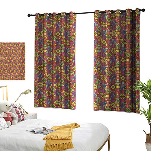 RuppertTextile Blackout Curtains Stained Glass Style Pattern with Flower Motifs Geometrical Star Shapes Mosaic Tile 55