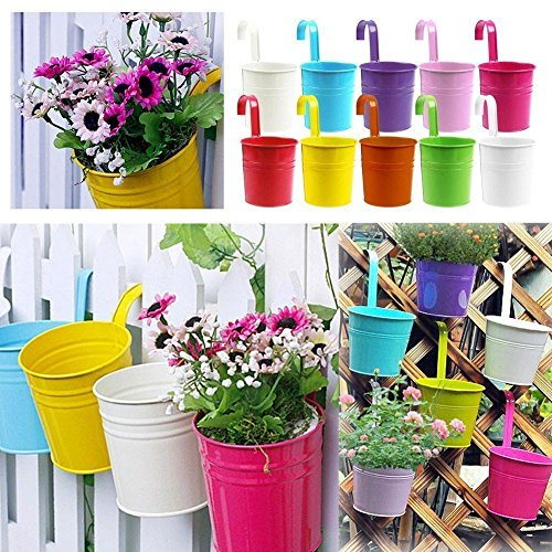 Fetoo Metal Iron Hanging Decorative Artificial Flower Pot Balcony Garden Planter Home Decor Plant Tub Pots (mixed ()