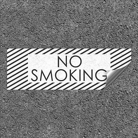 CGSignLab |''No Smoking -Stripes White'' Heavy-Duty Industrial Self-Adhesive Aluminum Wall Decal | 36''x12''