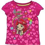 Little Girls Fuchsia Strawberry Short Cake Heart Pattern T-Shirt 2-4T