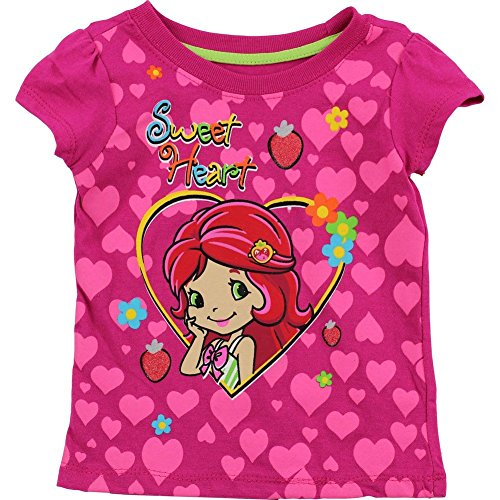 Strawberry Short Cake Little Girls Fuchsia Heart Pattern T-Shirt (Strawberry Shortcake Pattern)