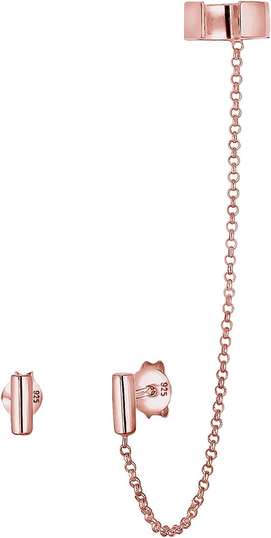 Elli Pendientes para mujer asimétricos con clip de oreja, diseño geométrico minimalista, fabricados en plata de ley de 925