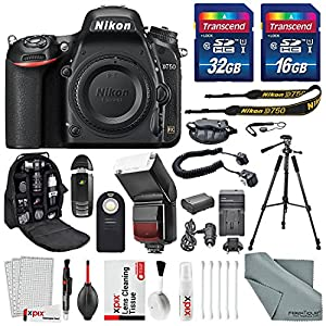 Nikon D750 DSLR Camera with Universal automatic flash + 48GB SDHC +Heavy Duty Tripod & Deluxe accessory bundle With Cleaning Accessories