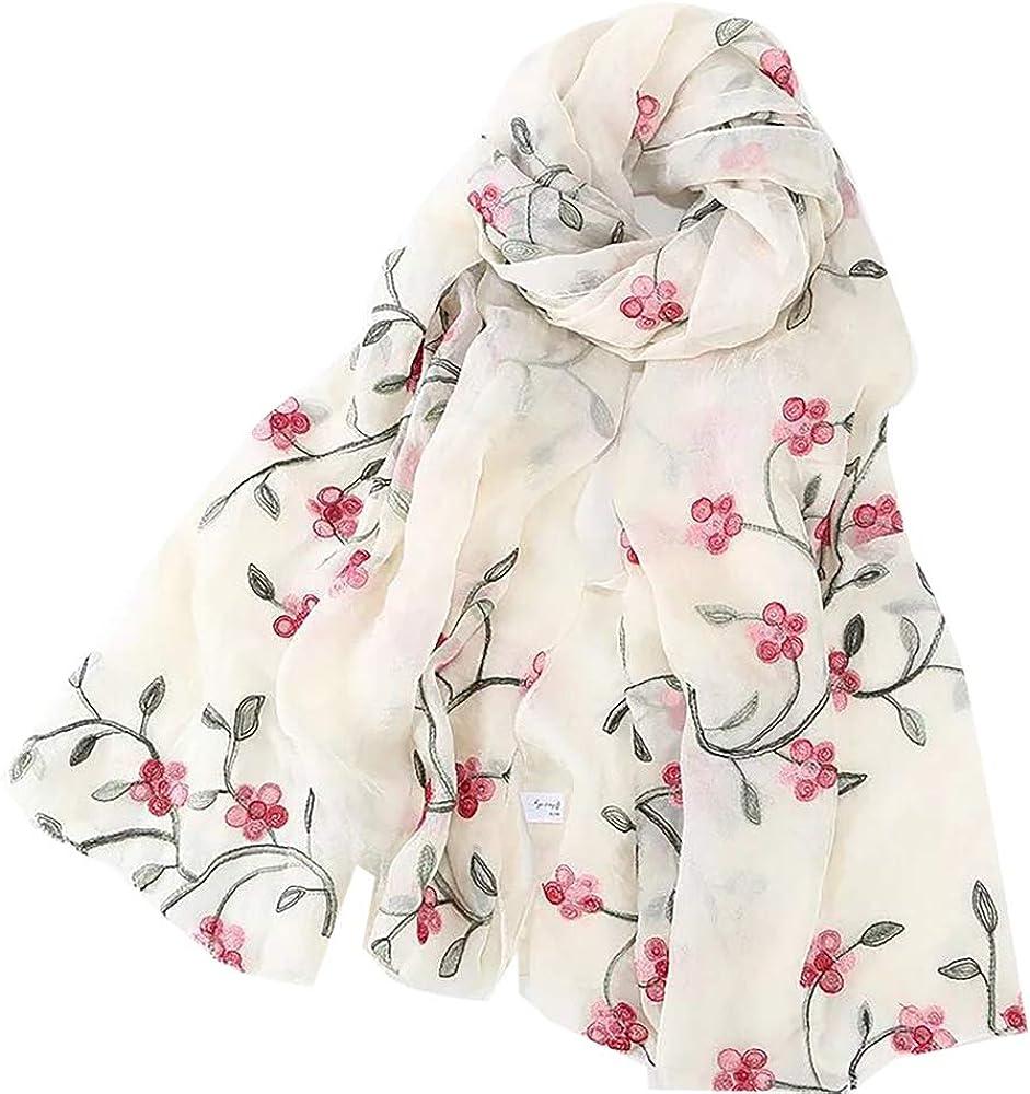Pluto & Fox Fular De Mujer Bordado Con Flores Bufanda De Seda Diseño Retro Elegante Pañuelo cuello Estola
